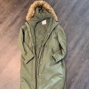 Zara Army Green Long Fur trimmed Puffer jacket